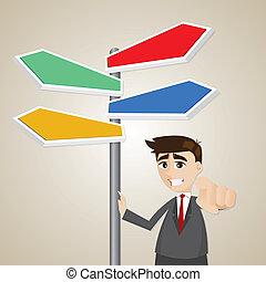 posición, hombre de negocios, caricatura, signage