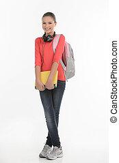 posición, libro, adolescente, schoolgirl., aislado, bolsa, mientras, cámara, tenencia, colegiala, blanco, sonreír feliz