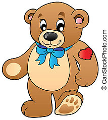 posición, lindo, oso, teddy