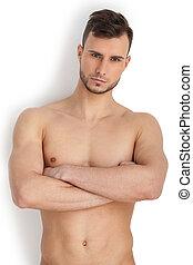 posición, mantener, joven, brazos, muscular, aislado, mirar, pensativo, cámara, cruzado, plano de fondo, masculinity., retrato, blanco, mientras, hombre