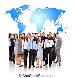 posición, mapa, tierra, hombres de negocios, frente