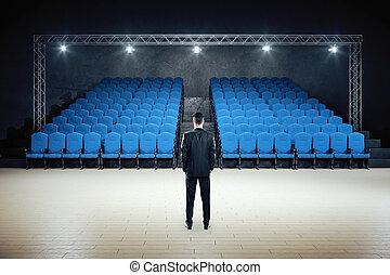 posición, minimalistic, teatro, película, hombre de negocios