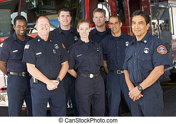 posición, motor, fuego, bomberos, seis, field), frente, (depth, capitán