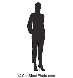 posición, mujer, silueta, shirt., vestido, pantalones, aislado, vector, bolsillos, manos