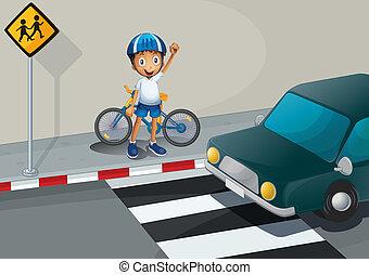 posición, niño, carril, bicicleta, peatón
