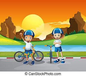 posición, niños, dos, su, bicicletas, río, camino