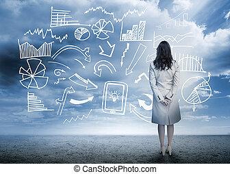 posición, organigrama, mirar, datos, mujer de negocios