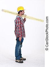 posición, perfil, el suyo, regla, encima, carpintero, tenencia, hombro