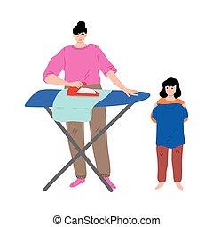 posición, planchado, camiseta, porción, feliz, ropa, hija, madre, tenencia