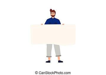 posición, plano, colorido, blanco, tenencia, banner., feliz, caricatura, illustration., vector, niño