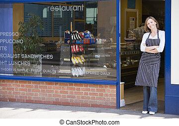 posición, puerta, mujer que sonríe, restaurante