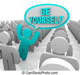 posición, ser, diferente, multitud, -, una persona, usted mismo, afuera
