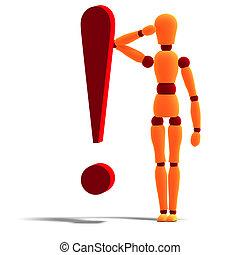 posición, signode admiración, atrás, maniquí, naranja, rojo