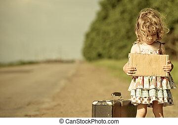 posición, sobre, solo, maleta, niña, camino