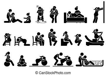 Posiciones de parto y posturas en casa.
