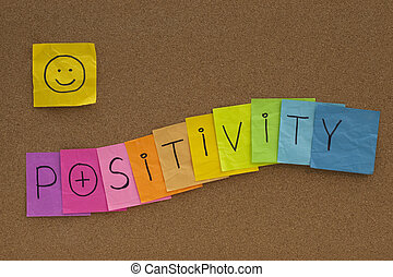positivity, concepto, tabla, smiley, corcho