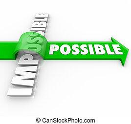 positivo, encima, posible, actitud, saltar, flecha, imposible