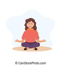 positivo, girl., mujer, mind., relajar, salud, concept., meditación, yoga, mental, meditar