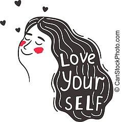 positivo, usted mismo, niña, cuidado, amor