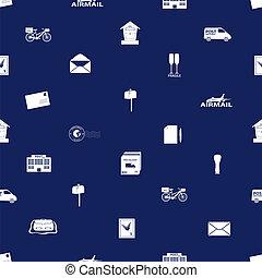 Post y correo sin costura azul y blanco patrón Eps10