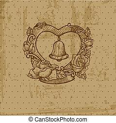 Postal de Bodas Vintage - por invitación, felicitaciones, álbum de recortes en vector