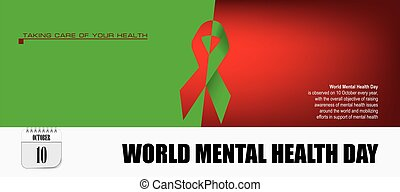 postal, mundo, día, salud, mental