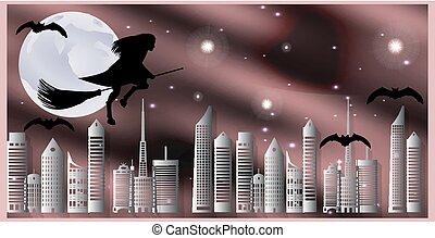 Postal para Halloween. La bruja en una escoba y los murciélagos vuelan sobre la ciudad en una noche a la luz de la luna
