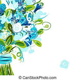 postal, texto, lugar, su, floral