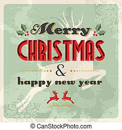 postal, vendimia, alegre, año, nuevo, navidad, feliz