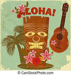 postal, vendimia, hawaiano