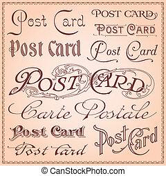 postal, vendimia, letterings