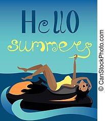 postales, banner., chorro, amarillo, viaje, niña, entretenimiento, summer., ocio, transport., agua, diseño, activo, swimsuit., mujer, ski., hola, publicidad, sea.