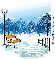 poste, banco, parque, lámpara