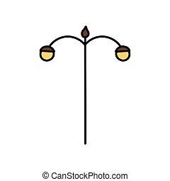 poste, icono de la lámpara, farola