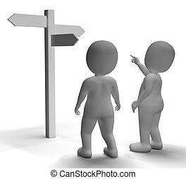 poste indicador, actuación, o, caracteres, viajar, dirección, 3d
