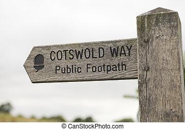 poste indicador, cotswold, manera