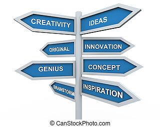 poste indicador, creatividad, 3d