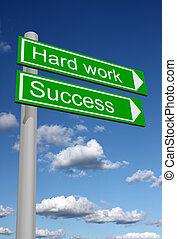 poste indicador, trabajo, duro, éxito