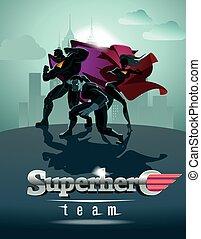 Poster. Equipo Superhéroe, equipo de superhéroes, posando frente a una luz.