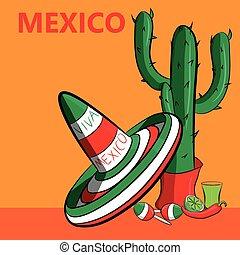 Poster México con la imagen de la bandera mexicana, sombrero, pimientos picantes, maracas y un montón de cactus