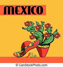 Poster México con, sombrero, pimientos picantes, maracas, cactus y lima