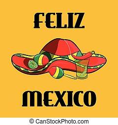 Poster México con, sombrero, pimientos picantes, maracas y lima