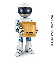 Postman robot blanco y buzón