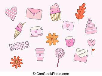 postre, carta, conjunto, café, valentine, flores, elementos, jarra, taza, corazón