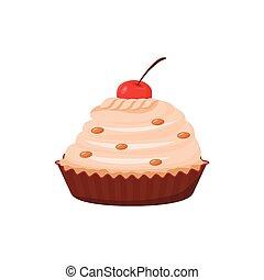postre, pastel, confitura, delicioso, blanco, plano, vector, alimento dulce, caricatura, cremoso, sabroso, color, decoración, aislado, azucarado, cereza, cocido al horno, cupcake, comida, object., panadería, plano de fondo, illustration.