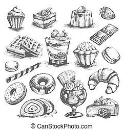 postres, pastel, vector, panadería, pasteles, cupcakes, iconos, conjunto, bosquejo