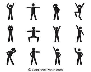 postura, figura palo, iconos