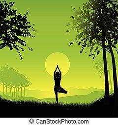 postura, yoga, hembra