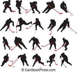 posturas, 20, detalle, hockey sobre hielo