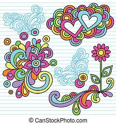 potencia, garabato, vector, flor, cuaderno